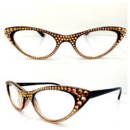 Vixen Cateye Reading Glasses - Gold on Black