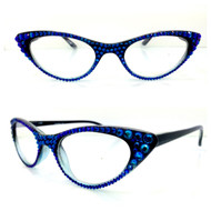 Vixen Cateye Reading Glasses - Blue on Black