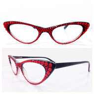 Vixen Cateye Reading Glasses - Red on Black