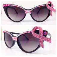 CRYSTAL Cateye SUN Glasses - Pink Ribbon, Half