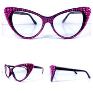 CRYSTAL Cat Eye Glasses - Fuchsia on Black