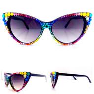 CRYSTAL Cat Eye SUN Glasses - Skittles