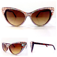 CRYSTAL Cat Eye SUN Glasses - Peach Blossom
