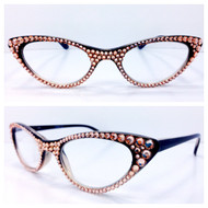 Vixen Cateye Reading Glasses - Peach on Black