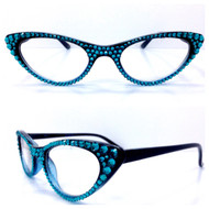 Vixen Cateye Reading Glasses - Turquoise on Black