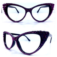 CRYSTAL Cat Eye Glasses - Purple on Black Frame