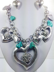 Charming Heart Necklace and Earring set
