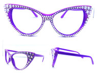 CRYSTAL Cateye Glasses - Violet on Violet Frame