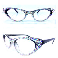 Vixen Cateye Reading Glasses-AB on Black