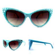 CRYSTAL Cateye SUN Glasses - Aqua on Turquoise