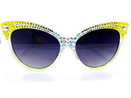 CRYSTAL Cateye SUN Glasses - Yellow Craze Matrix, Half