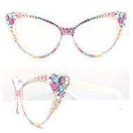CRYSTAL Cateye Glasses - Multi on White