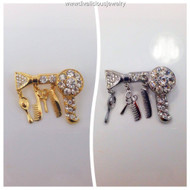Crystal Blow Dryer Brooch and Hair Charms