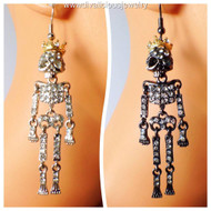 Crystal Encrusted Skeleton King Earrings