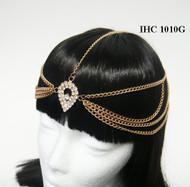 Dazzling Crystal-Encrusted Drop Pendant Head Chain