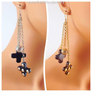 Dangling Ball and Cross Earrings