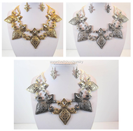 Textured Saints Fleur de Lis Necklace and Earring Set