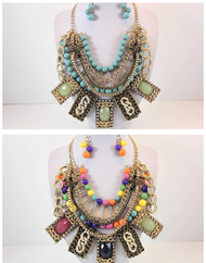 Jubilee Layered Necklace with Lucite Charms and Earring Set