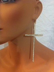 Oversized Rhinestone Cross Earrings-Gold with Clear Crystals