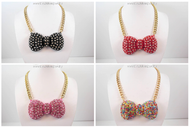 Oversized Crystal Polka Dotted Bow Tie Necklace