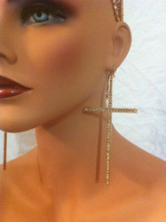 Oversized Rhinestone Cross Earrings-Gold with Brown Crystals