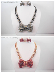 Marvelous Crystal Bow Tie Earring and Necklace Set