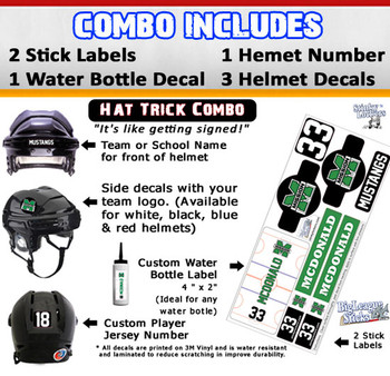Hat Trick Combo features 2 of the best selling Big League Stick Labels, water bottle decal, and helmet stickers including 2 logos, number and team name.