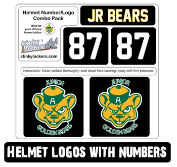 Customize your helmet with our water and scratch resistant helmet decals. 2 Logos & 2 Numbers with Team Name