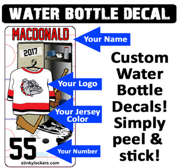 Customize your own water bottle with our water proof water bottle decals. Your name, your number, your team logo and jersey color!