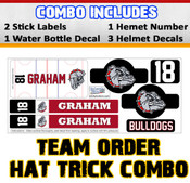 Order for the team and $ave! For only $ 17.99 each player will receive a hat trick combo which features 2 stick labels, 1 water bottle decal & 4 helmet stickers.
