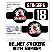 Customize your hockey, lacrosse, ringette, baseball or football helmet with team name, number and logo.
