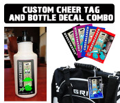 Get the best of both with our Cheerleader Bag Tag & Water Bottle Decal Combo!