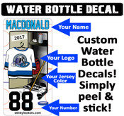 Customize your own ringette water bottle with our water proof water bottle decal. Your name, number, team logo & team colors.