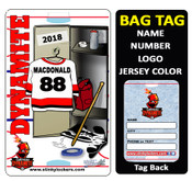 Locker Style # 1 features a full locker scene. Customize with your name, number, team name and team colors.