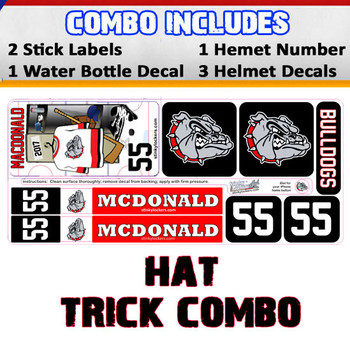 Hat Trick Combo features 1 water bottle decal, 2 stick labels & 5 helmet stickers. Each hat trick will feature your player's name, number, team logo and team color.