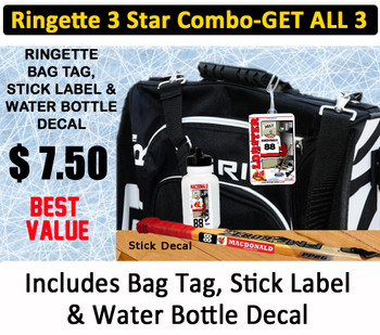 Get the best value 3 STAR Combo and get a custom bag tag, stick label and water bottle decal for only $ 7.50.