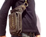Leather Holster Shoulder Bag in Brown