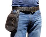 Burning Man Hip Pouch Leather Utility Belt - Black