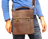 Designer Shoulder Bag Rugged Brown Leather (iPad fit) Unisex
