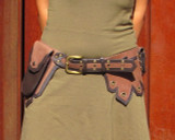 Brown and Tan Leather Belt Bag with Five Pockets