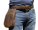 Burning Man Hip Pouch Leather Utility Belt - Brown