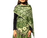 Spiral Flowers Womens Shawl in Green
