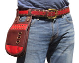 Burning Man Hip Pouch Leather Utility Belt - Red
