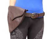 Brown Leather Pixie Fairy Belt Hip Pouch