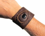 Leather Wristband Cuff with Black Onyx