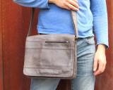 Leather Satchel Shoulder Bag for Men - Sherpa V - Grey
