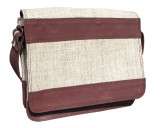 Leather and Hemp Bag Satchel for Men Mahogany Brown