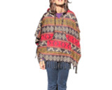 Hooded Poncho Shawl Red with Mustard and Black Weave