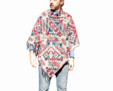 Poncho Shawl Grey Blue Red