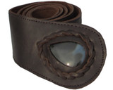 Womens Brown Leather Belt with Onyx Stone Inset